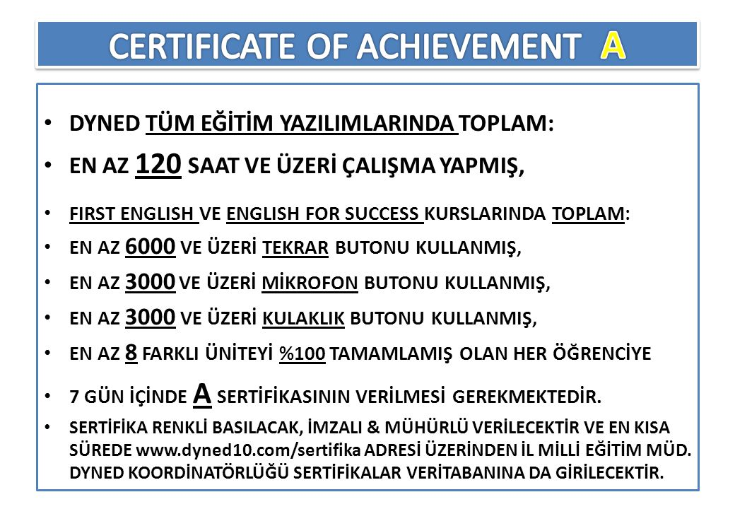 CERTIFICATE OF ACHIEVEMENT A