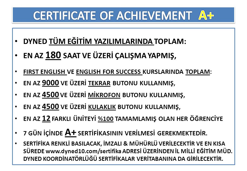 CERTIFICATE OF ACHIEVEMENT A+