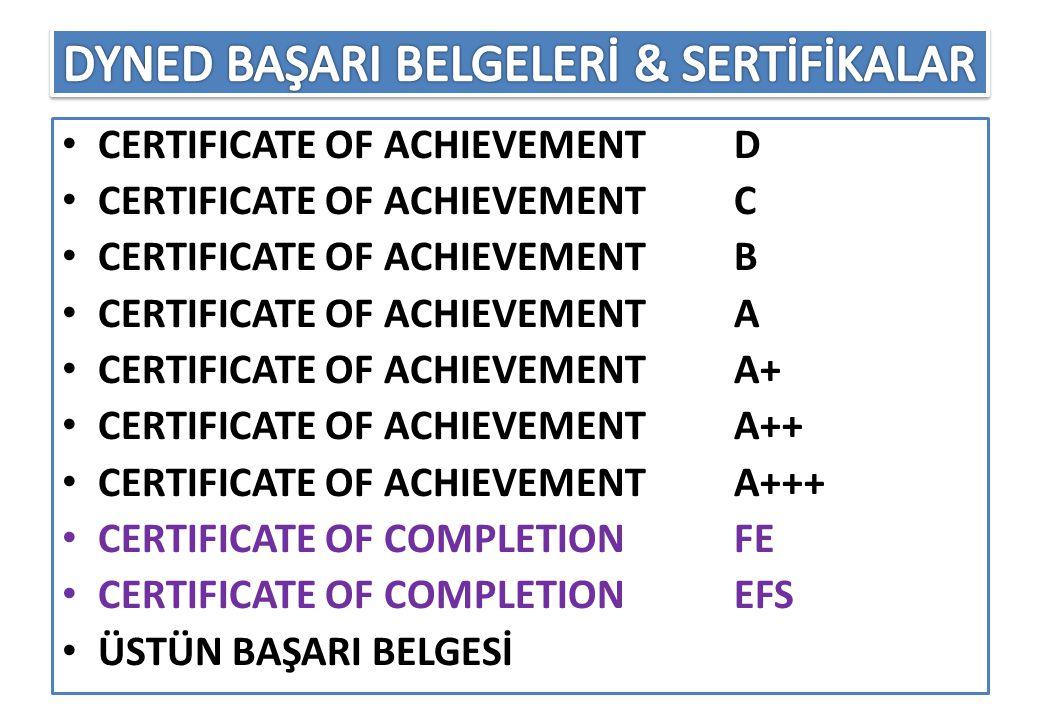 DYNED BAŞARI BELGELERİ & SERTİFİKALAR