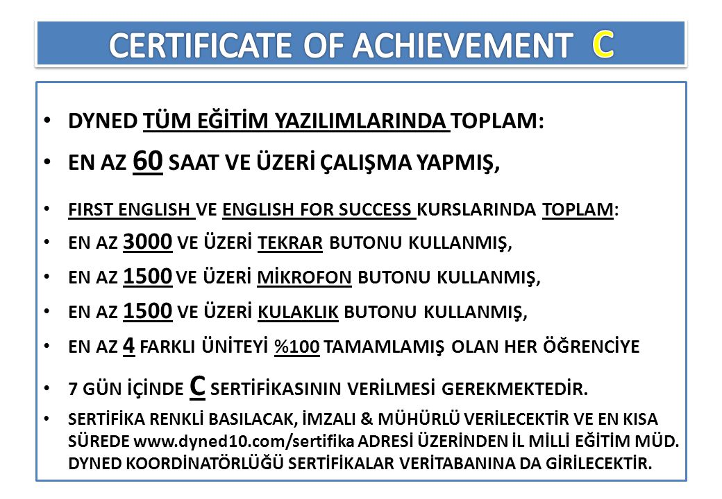 CERTIFICATE OF ACHIEVEMENT C