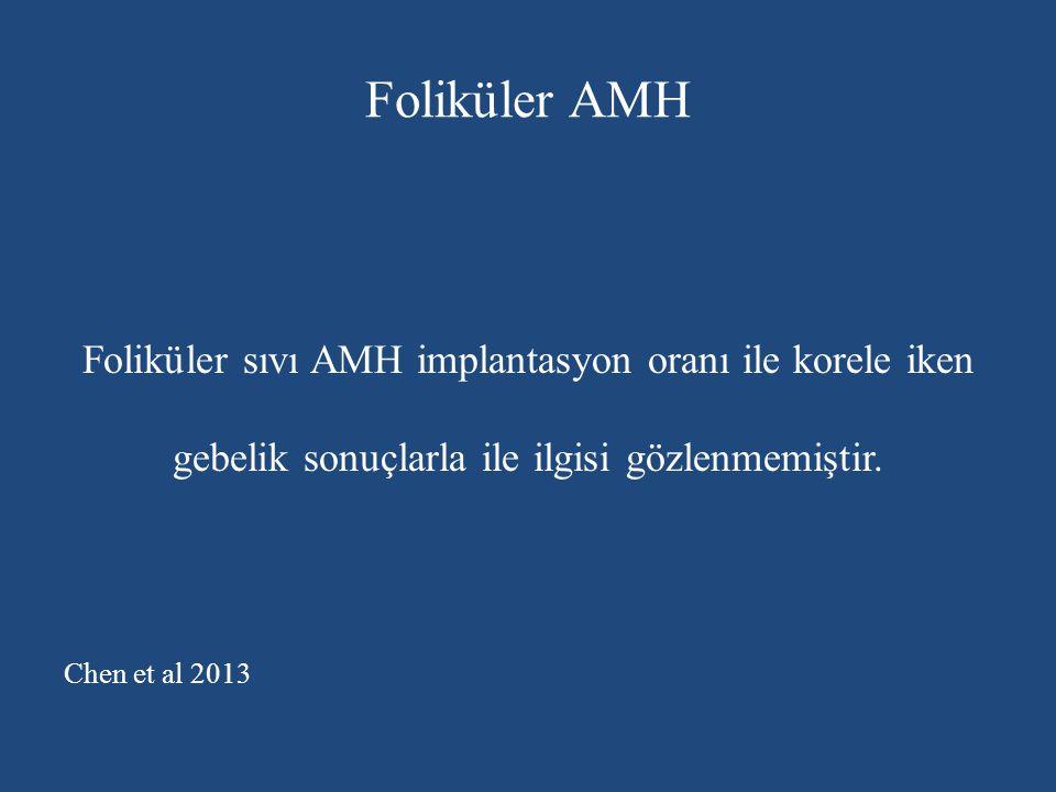 Foliküler AMH Foliküler sıvı AMH implantasyon oranı ile korele iken gebelik sonuçlarla ile ilgisi gözlenmemiştir.