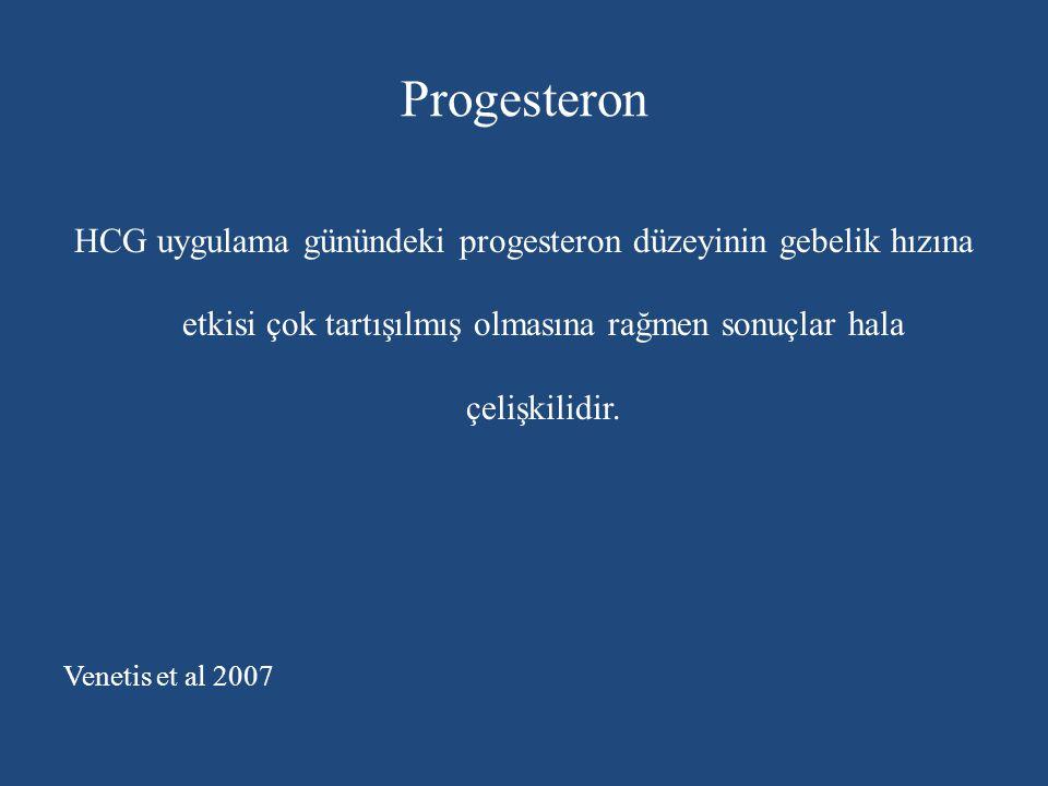 Progesteron HCG uygulama günündeki progesteron düzeyinin gebelik hızına etkisi çok tartışılmış olmasına rağmen sonuçlar hala çelişkilidir.