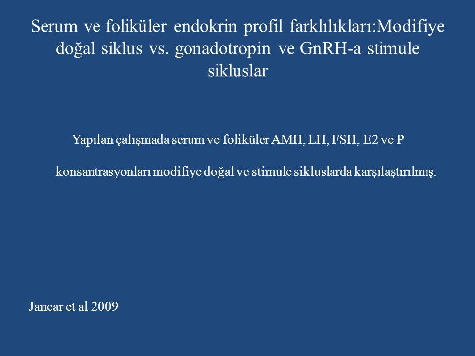 Serum ve foliküler endokrin profil farklılıkları:Modifiye doğal siklus vs. gonadotropin ve GnRH-a stimule sikluslar