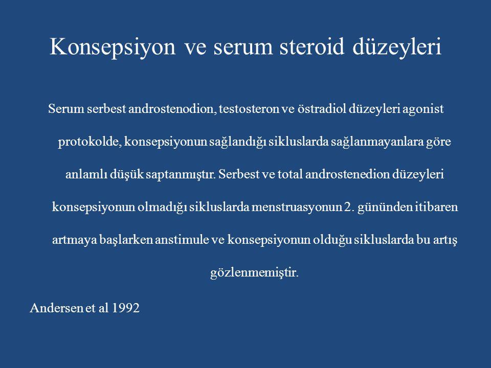 Konsepsiyon ve serum steroid düzeyleri