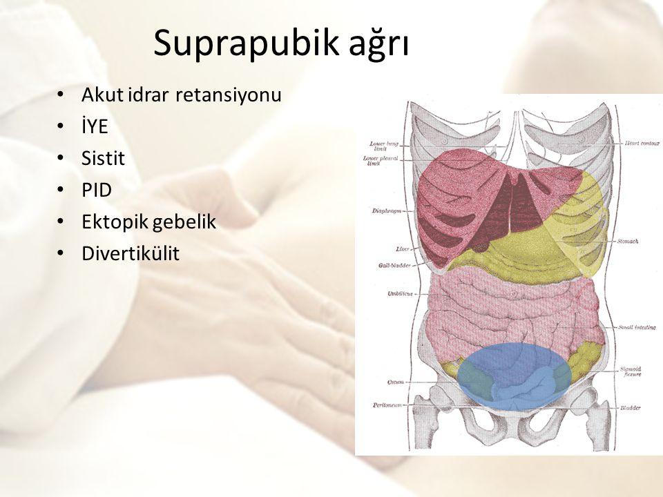 Suprapubik ağrı Akut idrar retansiyonu İYE Sistit PID Ektopik gebelik