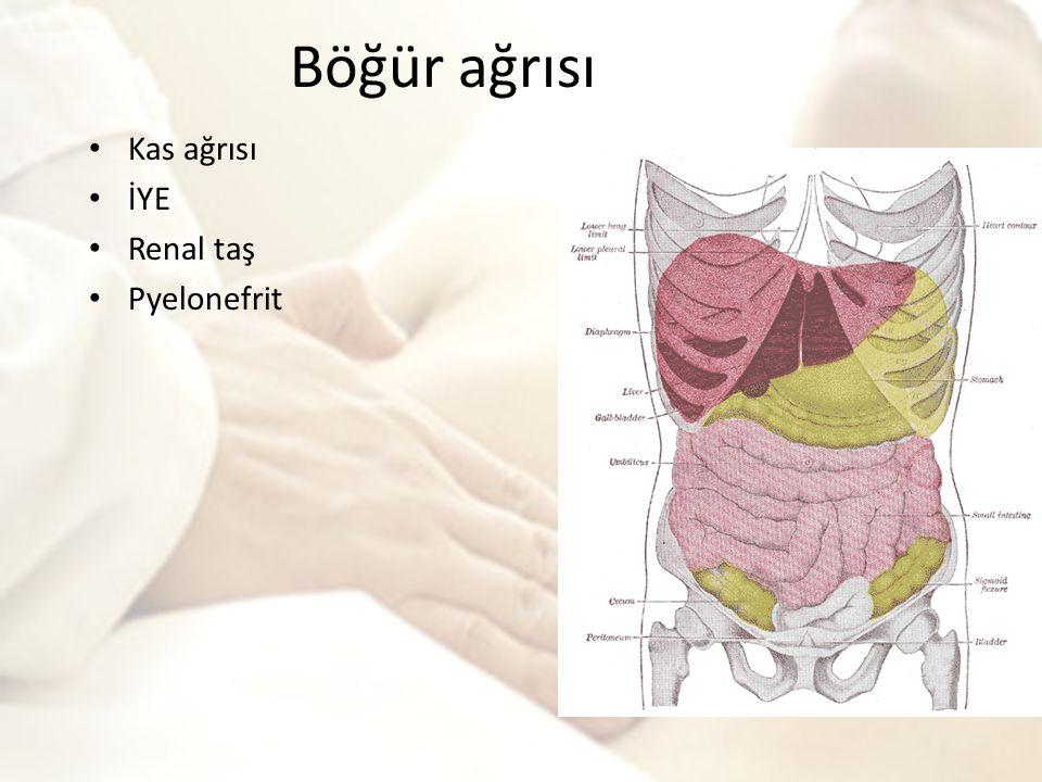 Böğür ağrısı Kas ağrısı İYE Renal taş Pyelonefrit