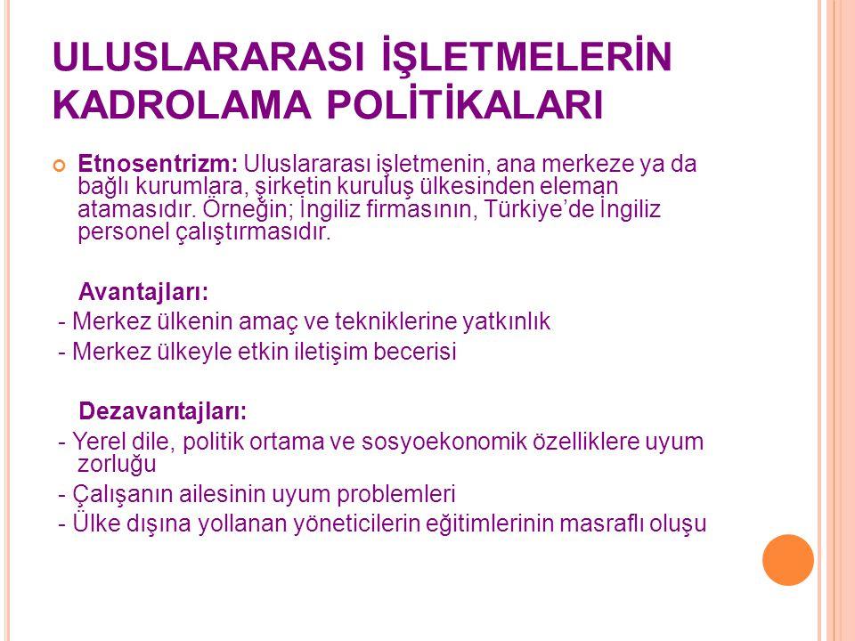 ULUSLARARASI İŞLETMELERİN KADROLAMA POLİTİKALARI