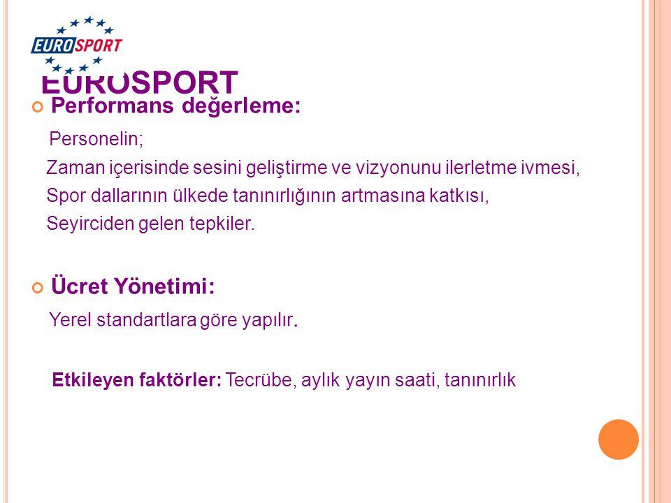 EUROSPORT Performans değerleme: Personelin; Ücret Yönetimi: