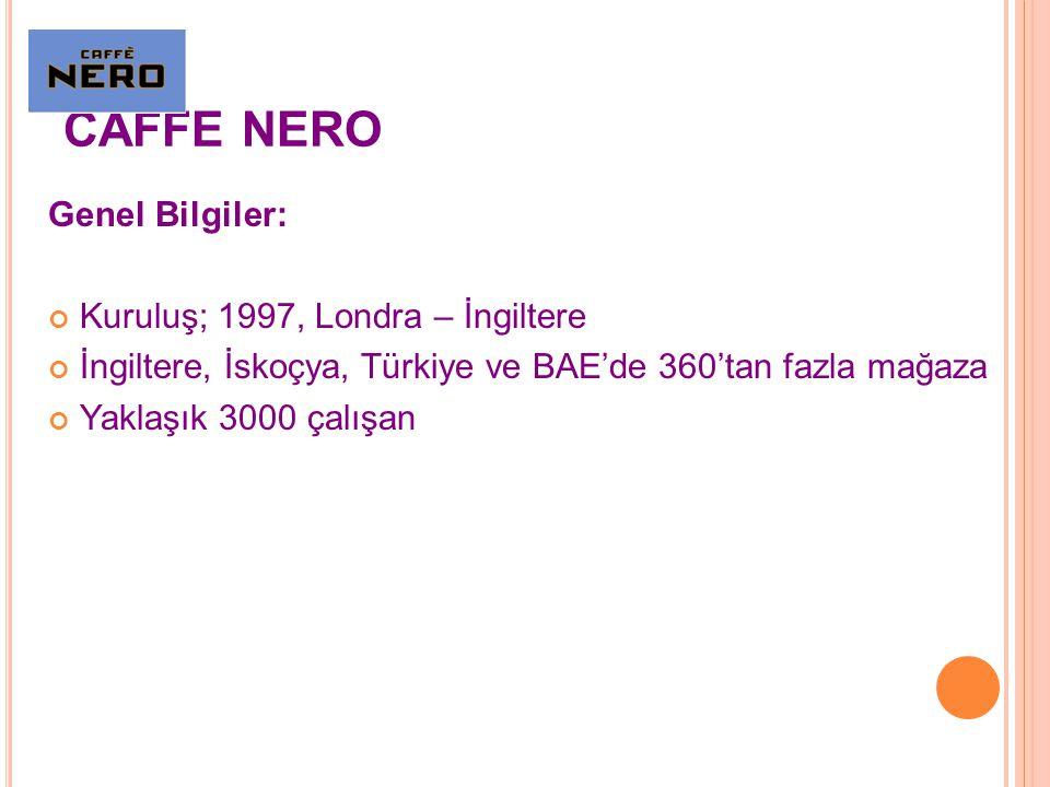 CAFFE NERO Genel Bilgiler: Kuruluş; 1997, Londra – İngiltere