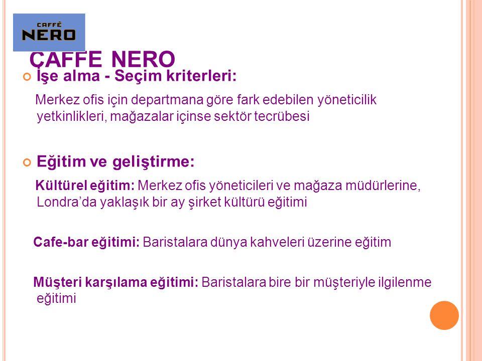 CAFFE NERO İşe alma - Seçim kriterleri: