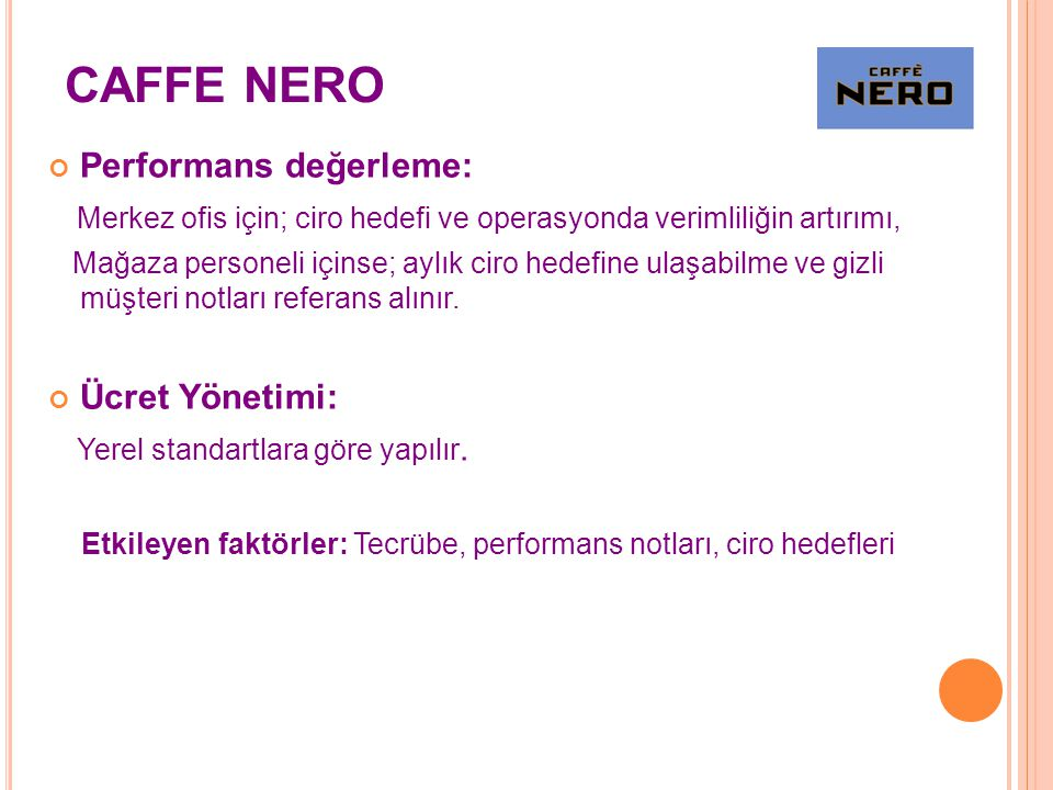 CAFFE NERO Performans değerleme:
