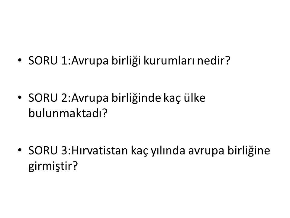 SORU 1:Avrupa birliği kurumları nedir