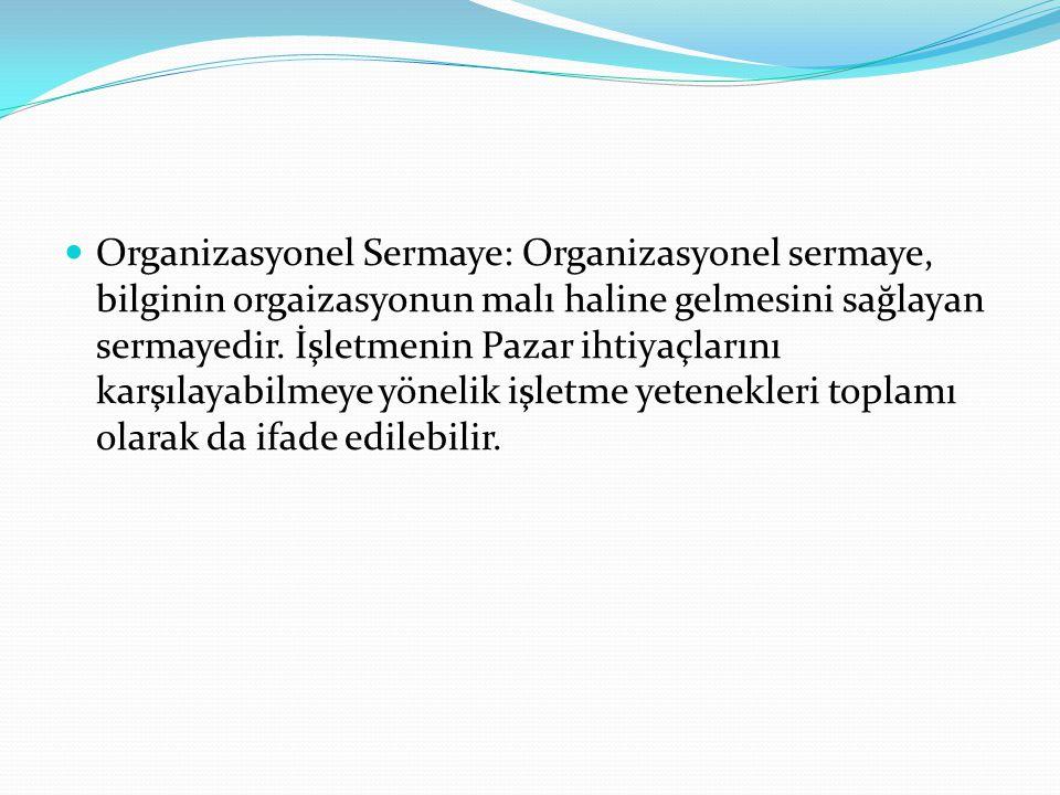 Organizasyonel Sermaye: Organizasyonel sermaye, bilginin orgaizasyonun malı haline gelmesini sağlayan sermayedir.