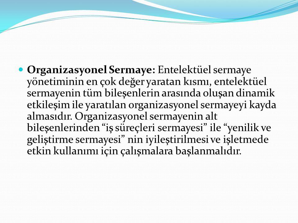 Organizasyonel Sermaye: Entelektüel sermaye yönetiminin en çok değer yaratan kısmı, entelektüel sermayenin tüm bileşenlerin arasında oluşan dinamik etkileşim ile yaratılan organizasyonel sermayeyi kayda almasıdır.