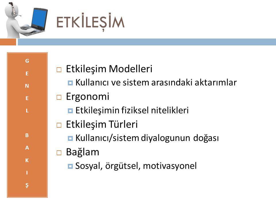 ETKİLEŞİM Etkileşim Modelleri Ergonomi Etkileşim Türleri Bağlam