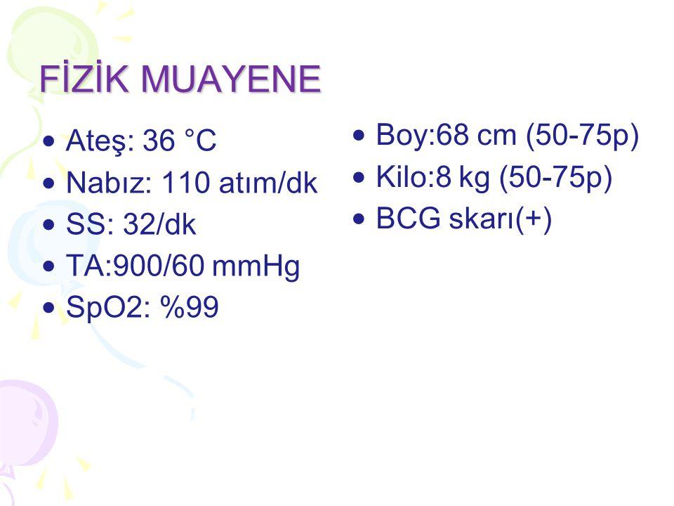 FİZİK MUAYENE Boy:68 cm (50-75p) Ateş: 36 °C Kilo:8 kg (50-75p)