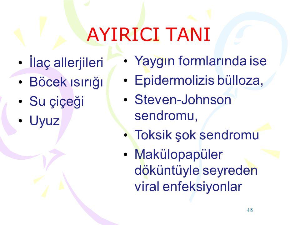 AYIRICI TANI İlaç allerjileri Yaygın formlarında ise Böcek ısırığı