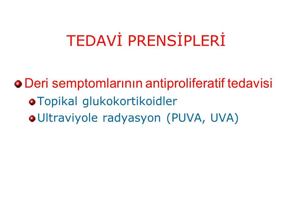 TEDAVİ PRENSİPLERİ Deri semptomlarının antiproliferatif tedavisi