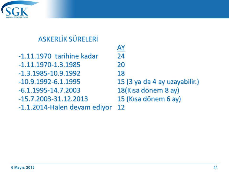 ASKERLİK SÜRELERİ AY -1.11.1970 tarihine kadar 24