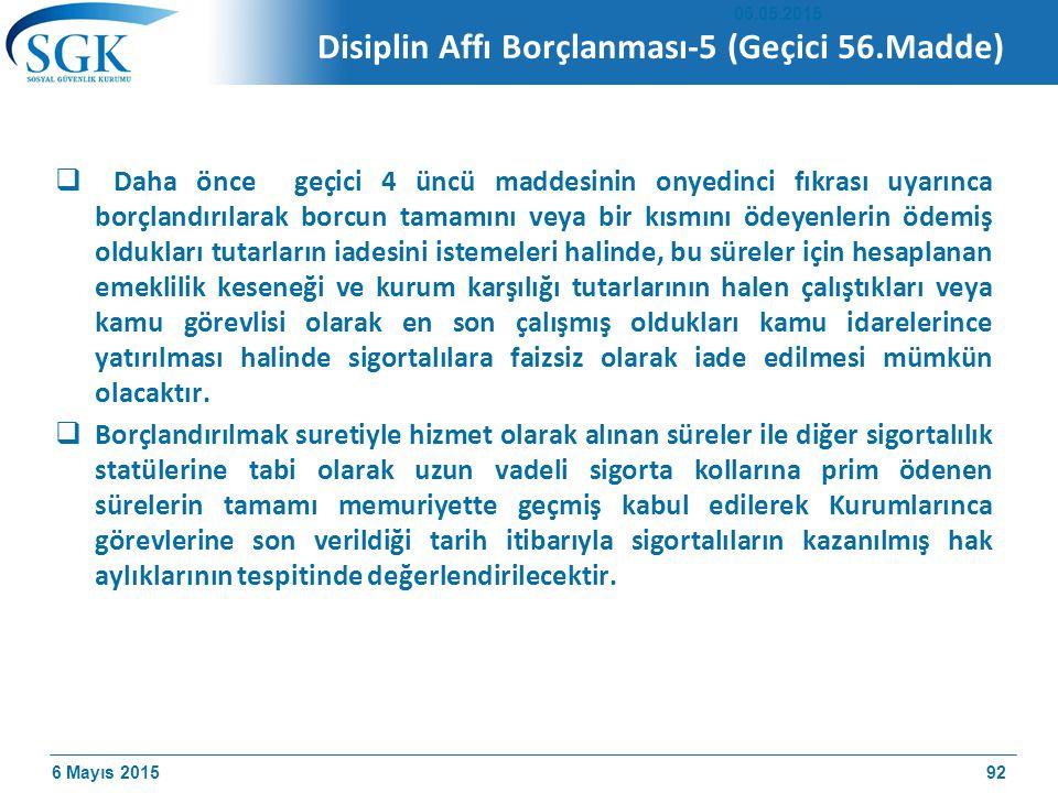 Disiplin Affı Borçlanması-5 (Geçici 56.Madde)