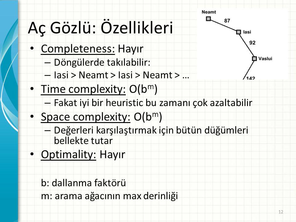 Aç Gözlü: Özellikleri Completeness: Hayır Time complexity: O(bm)