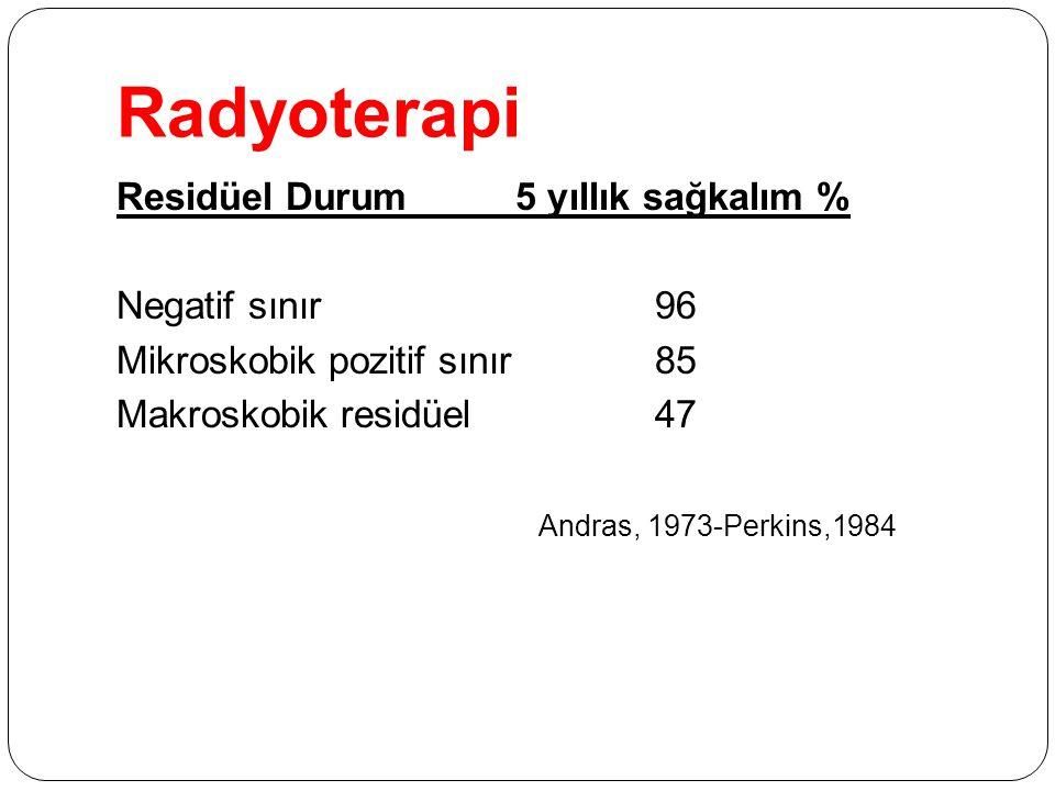 Radyoterapi Residüel Durum 5 yıllık sağkalım % Negatif sınır 96