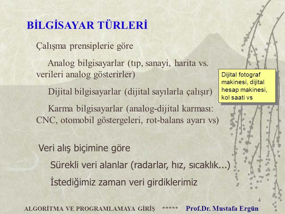 ALGORİTMA VE PROGRAMLAMAYA GİRİŞ ***** Prof.Dr. Mustafa Ergün