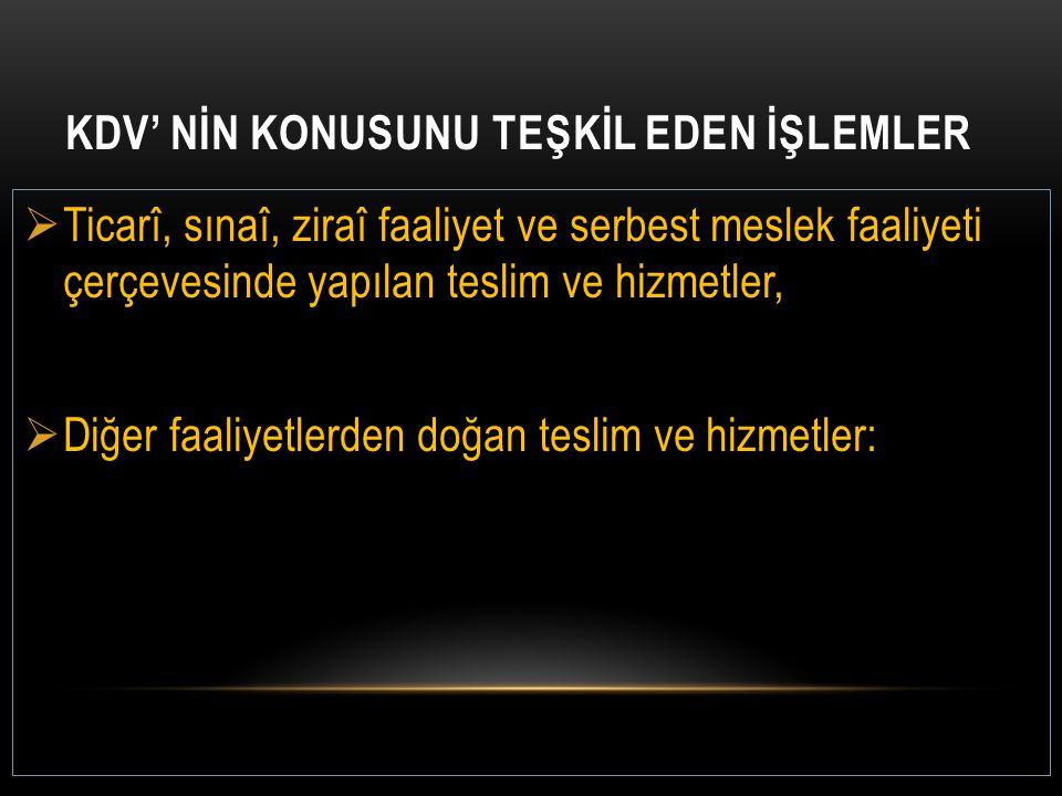 KDV' NİN KONUSUNU TEŞKİL EDEN İŞLEMLER