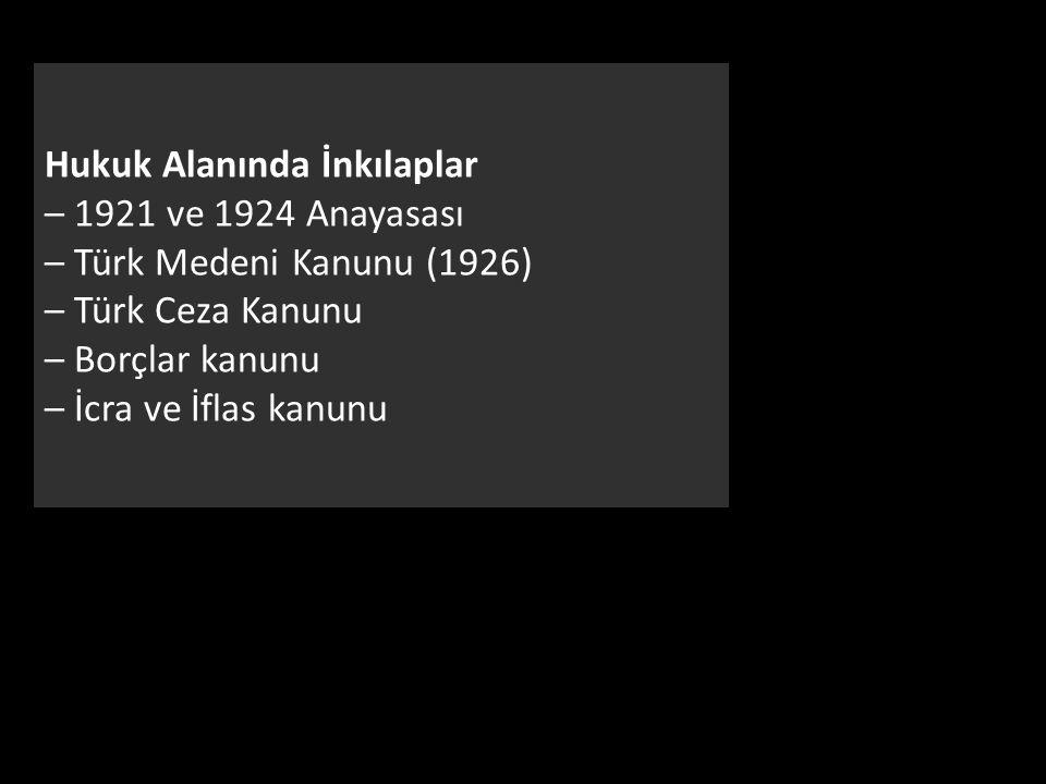 Hukuk Alanında İnkılaplar – 1921 ve 1924 Anayasası – Türk Medeni Kanunu (1926) – Türk Ceza Kanunu – Borçlar kanunu – İcra ve İflas kanunu