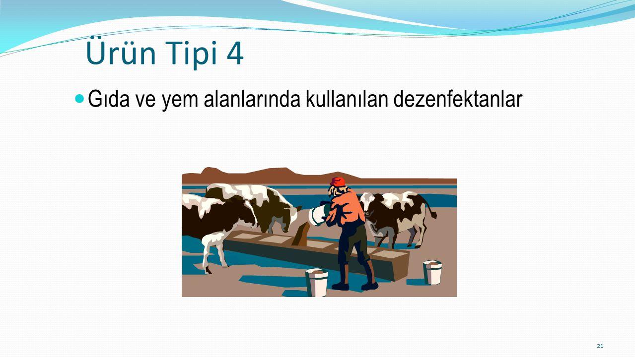 Ürün Tipi 4 Gıda ve yem alanlarında kullanılan dezenfektanlar