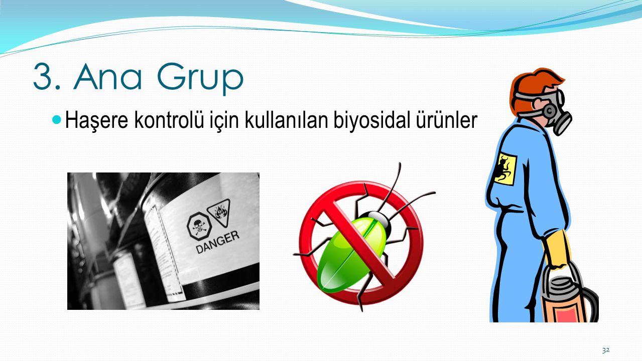 3. Ana Grup Haşere kontrolü için kullanılan biyosidal ürünler