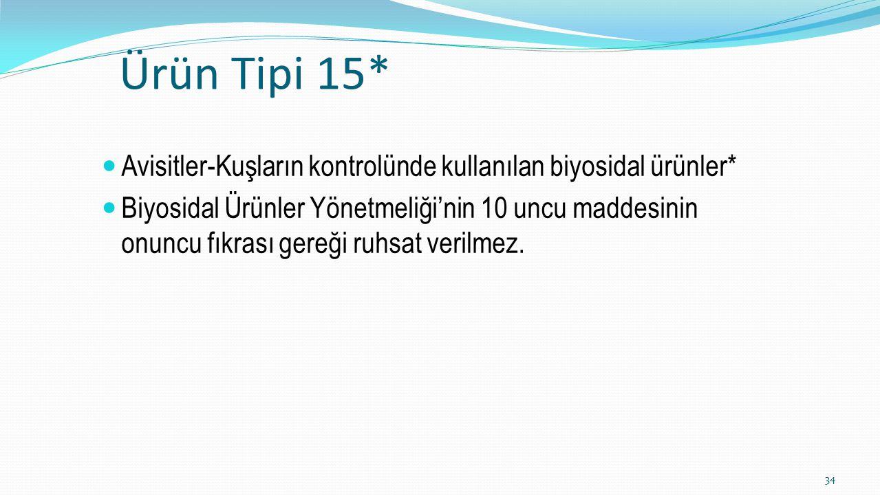 Ürün Tipi 15* Avisitler-Kuşların kontrolünde kullanılan biyosidal ürünler*