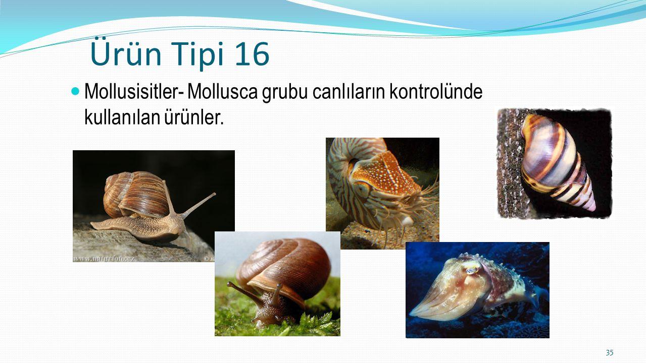 Ürün Tipi 16 Mollusisitler- Mollusca grubu canlıların kontrolünde kullanılan ürünler.