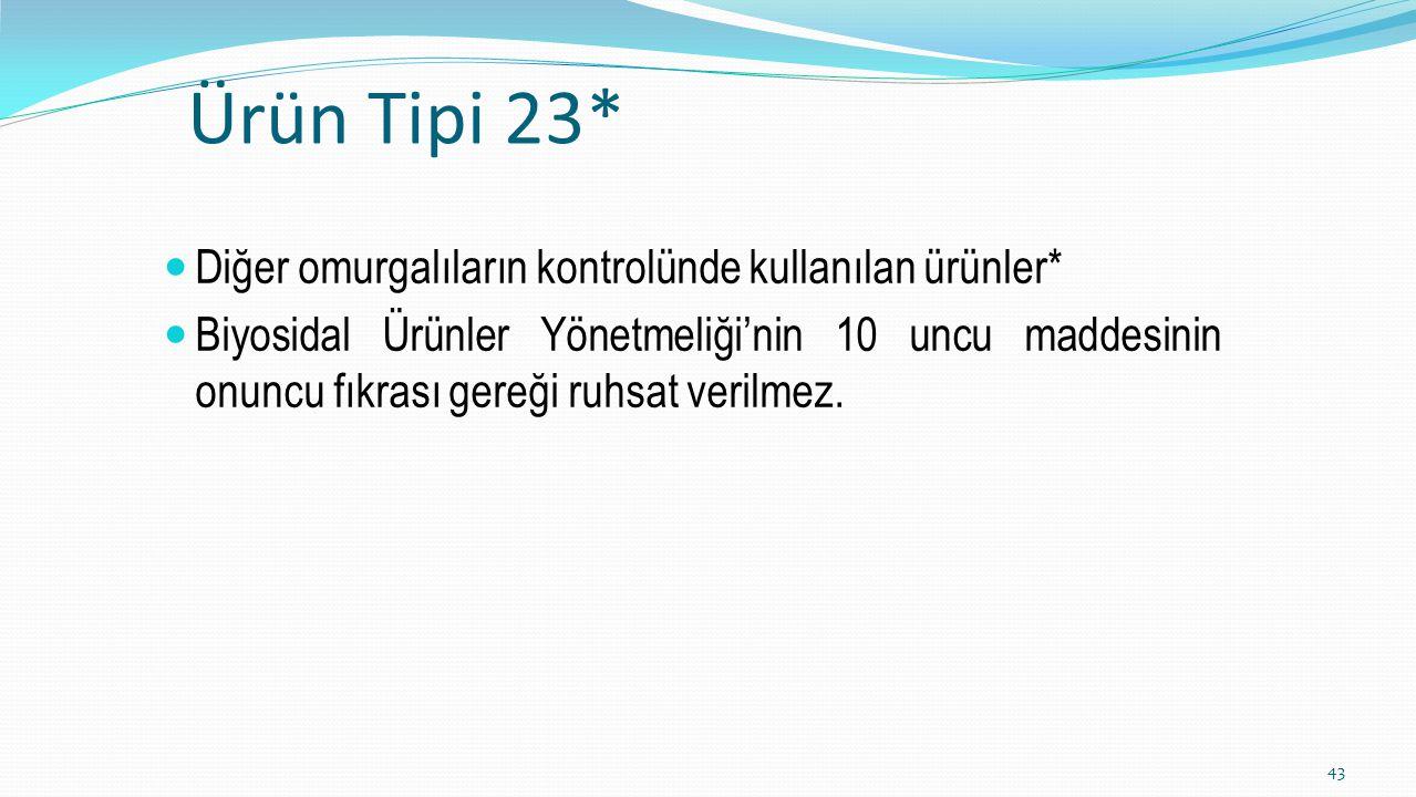 Ürün Tipi 23* Diğer omurgalıların kontrolünde kullanılan ürünler*