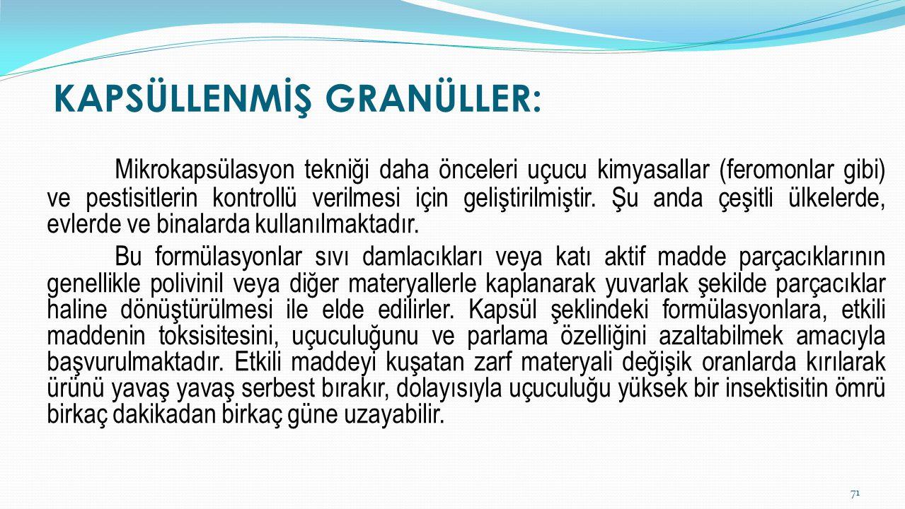 KAPSÜLLENMİŞ GRANÜLLER: