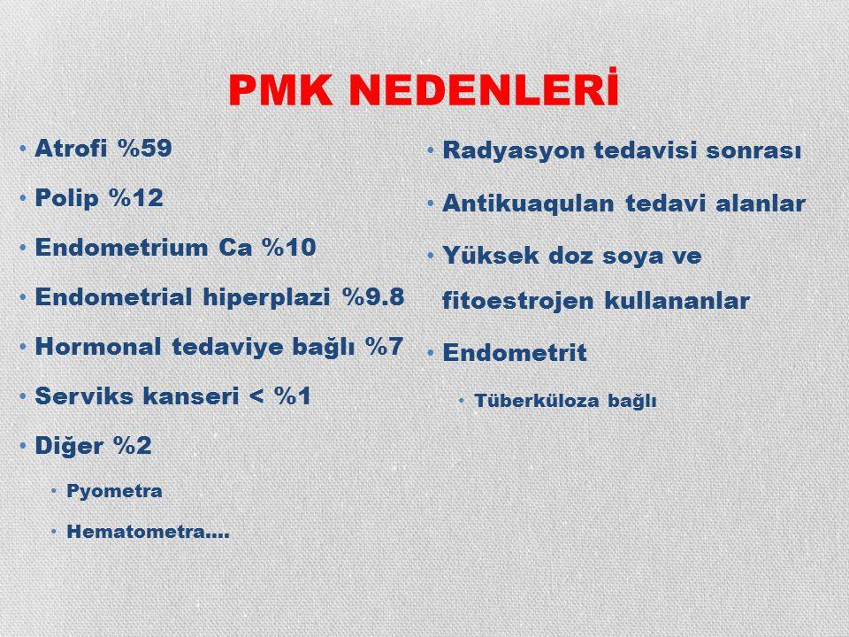PMK NEDENLERİ Atrofi %59 Polip %12 Endometrium Ca %10