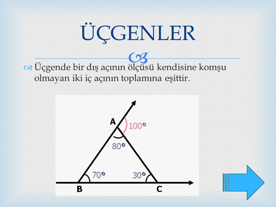 ÜÇGENLER Üçgende bir dış açının ölçüsü kendisine komşu olmayan iki iç açının toplamına eşittir.