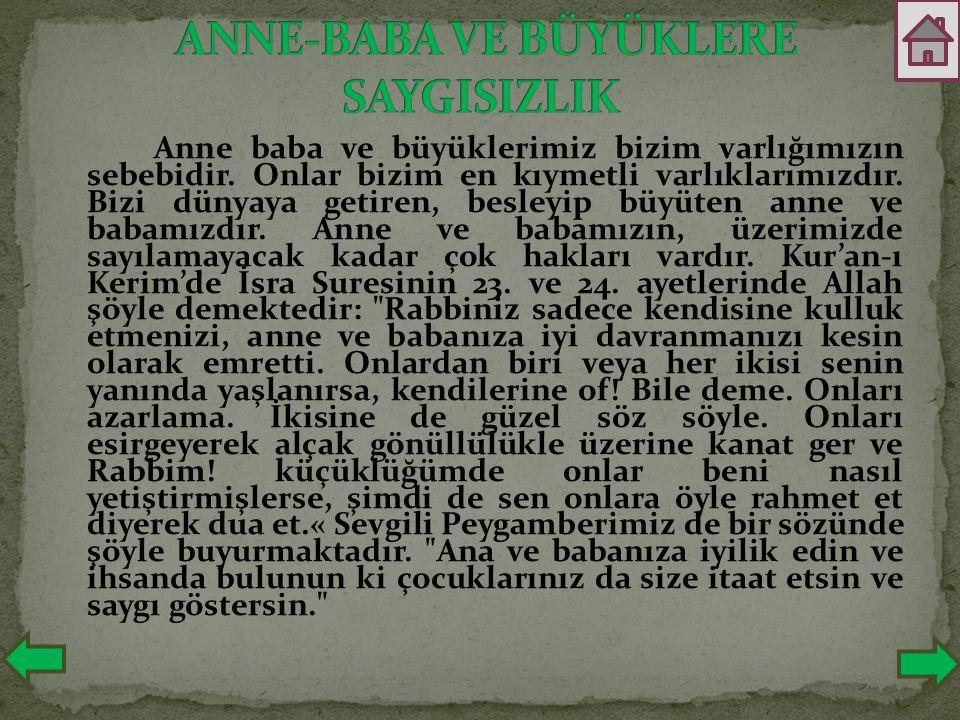 ANNE-BABA VE BÜYÜKLERE SAYGISIZLIK