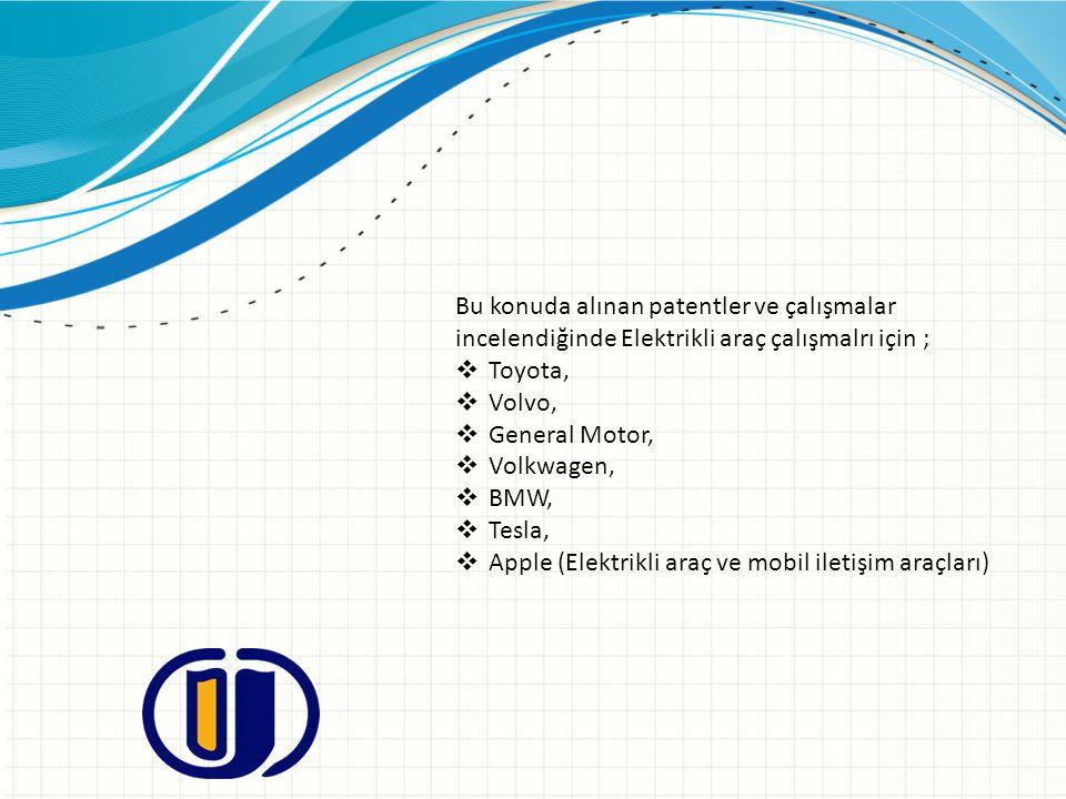 Bu konuda alınan patentler ve çalışmalar incelendiğinde Elektrikli araç çalışmalrı için ;