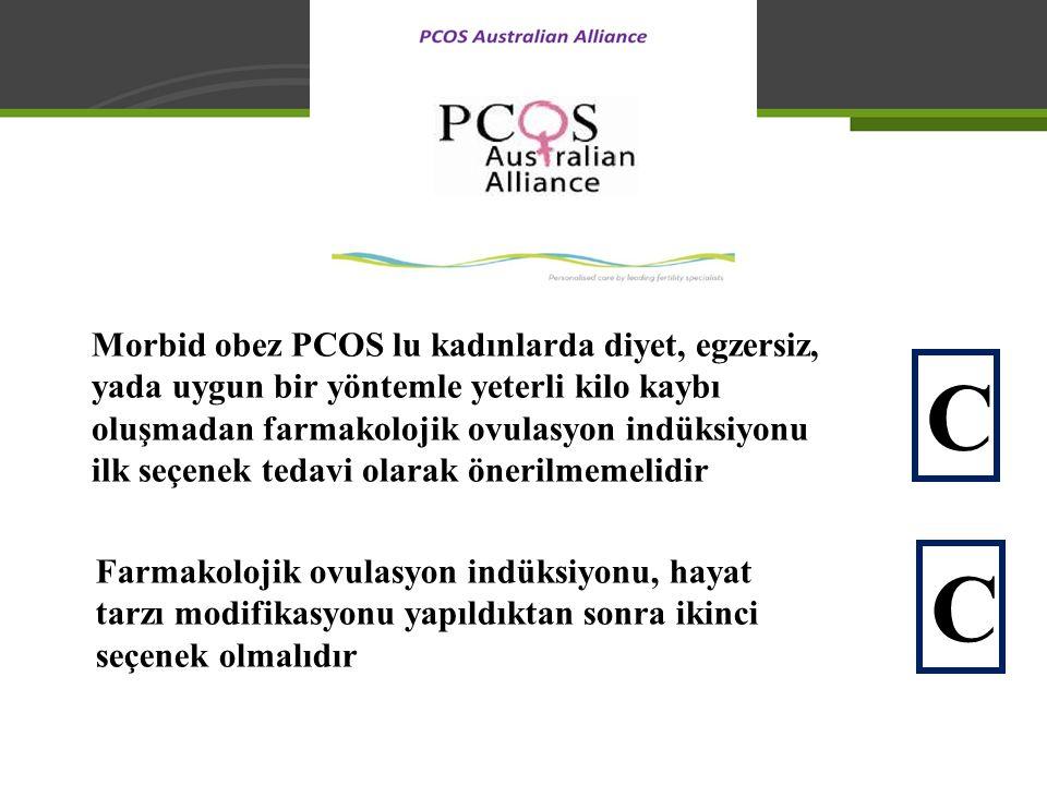 Morbid obez PCOS lu kadınlarda diyet, egzersiz, yada uygun bir yöntemle yeterli kilo kaybı oluşmadan farmakolojik ovulasyon indüksiyonu ilk seçenek tedavi olarak önerilmemelidir