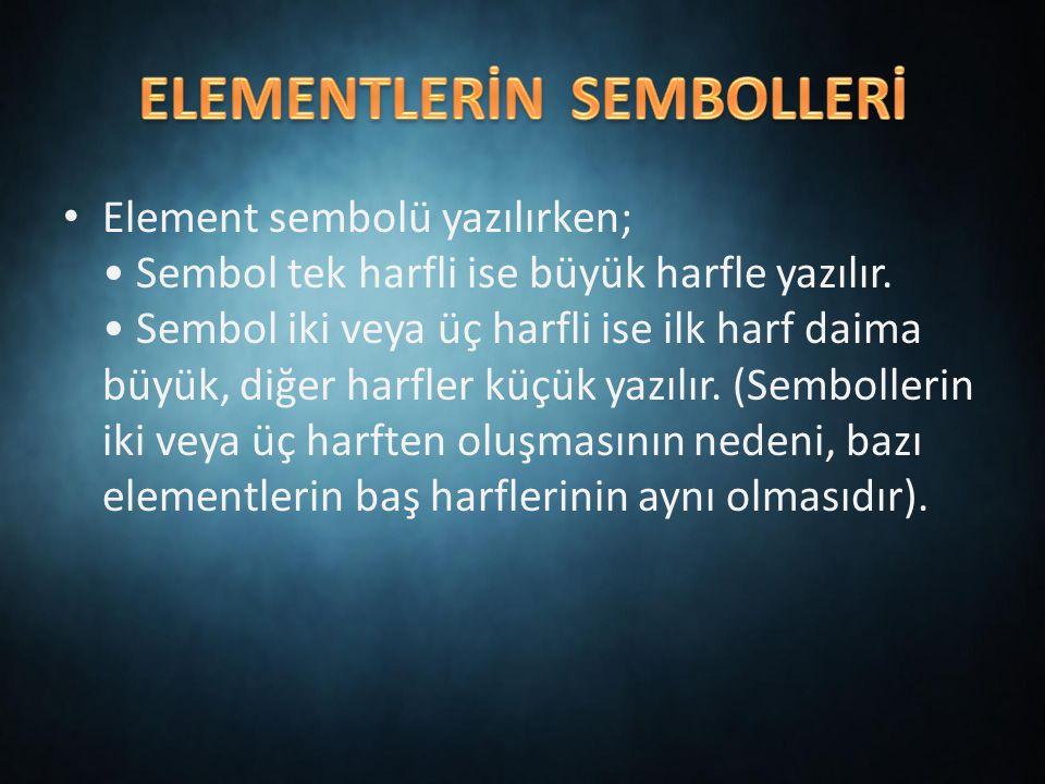ELEMENTLERİN SEMBOLLERİ