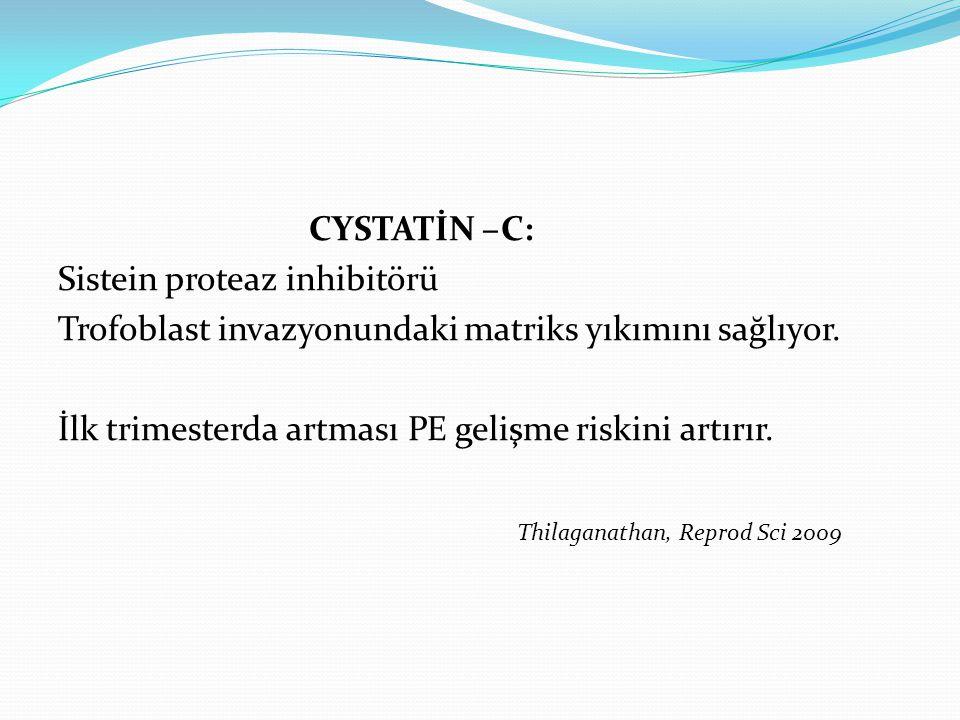 CYSTATİN –C: Sistein proteaz inhibitörü Trofoblast invazyonundaki matriks yıkımını sağlıyor.