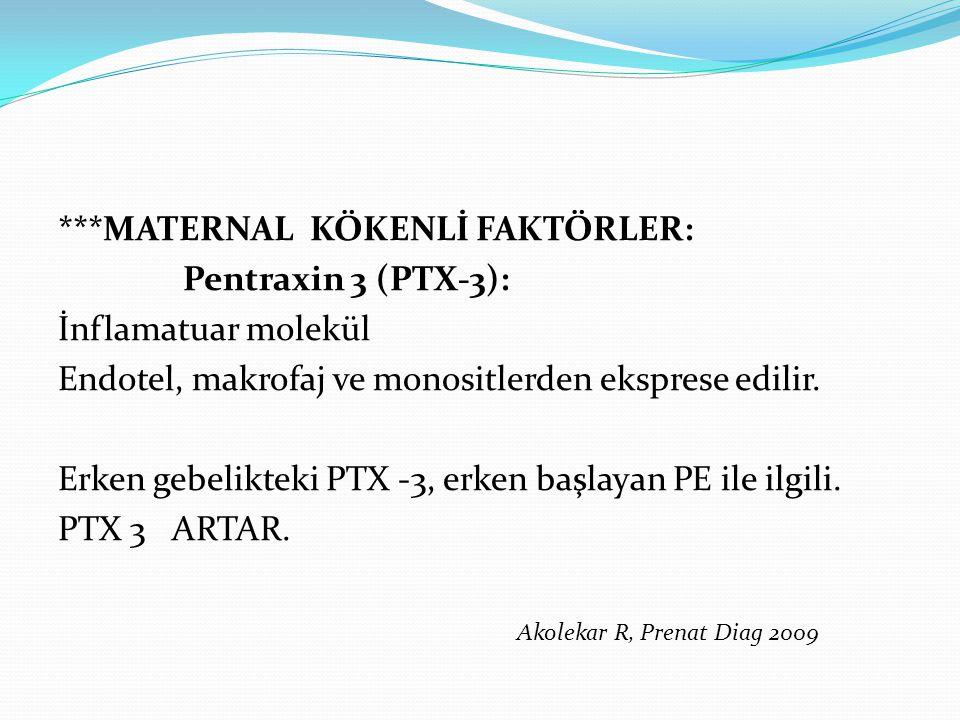 ***MATERNAL KÖKENLİ FAKTÖRLER: Pentraxin 3 (PTX-3): İnflamatuar molekül Endotel, makrofaj ve monositlerden eksprese edilir.