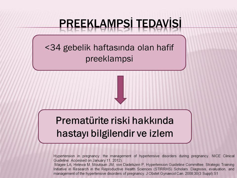 Prematürite riski hakkında hastayı bilgilendir ve izlem