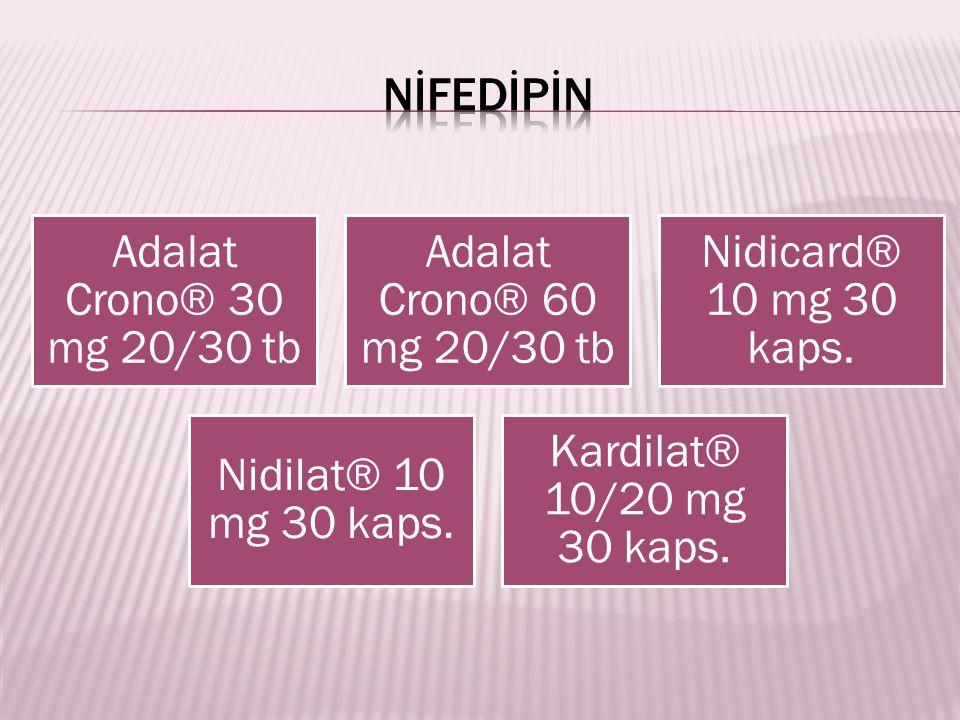 NİFEDİPİN Adalat Crono® 30 mg 20/30 tb Adalat Crono® 60 mg 20/30 tb