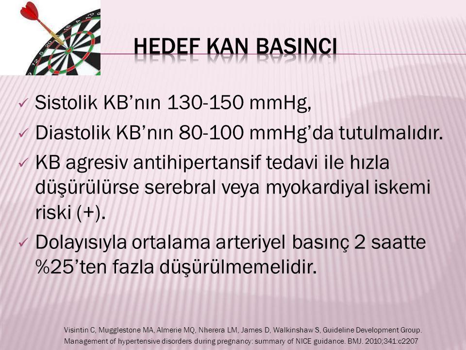 HEDEF KAN BASINCI Sistolik KB'nın 130-150 mmHg,
