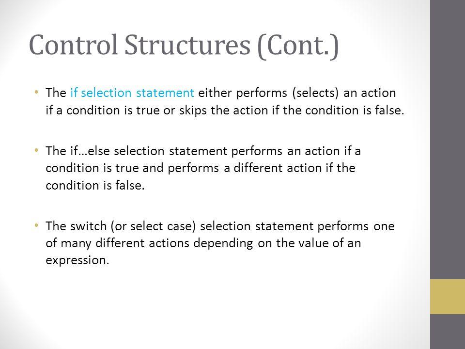 Control Structures (Cont.)