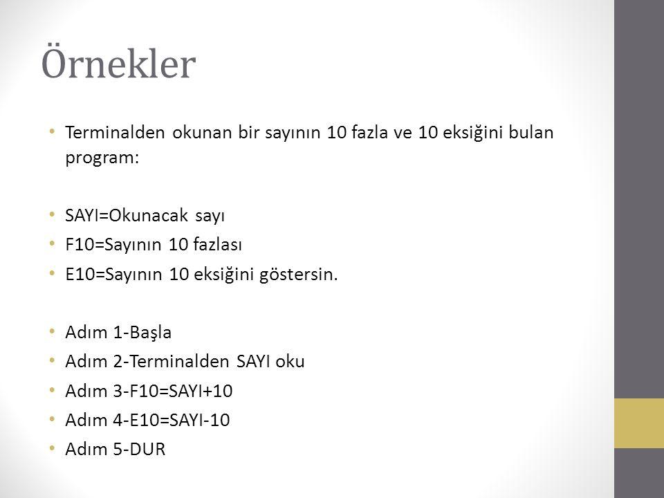 Örnekler Terminalden okunan bir sayının 10 fazla ve 10 eksiğini bulan program: SAYI=Okunacak sayı.