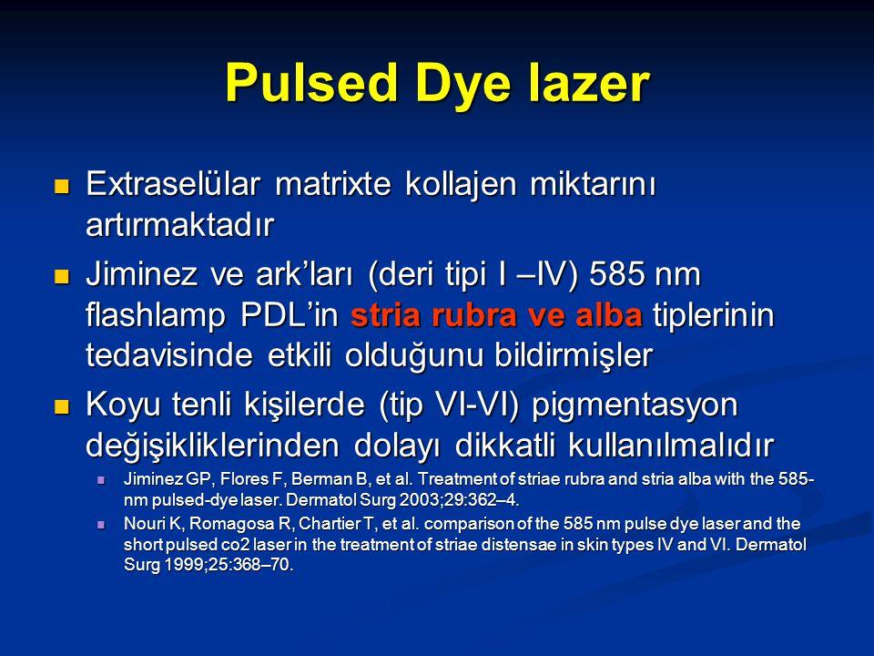 Pulsed Dye lazer Extraselülar matrixte kollajen miktarını artırmaktadır.