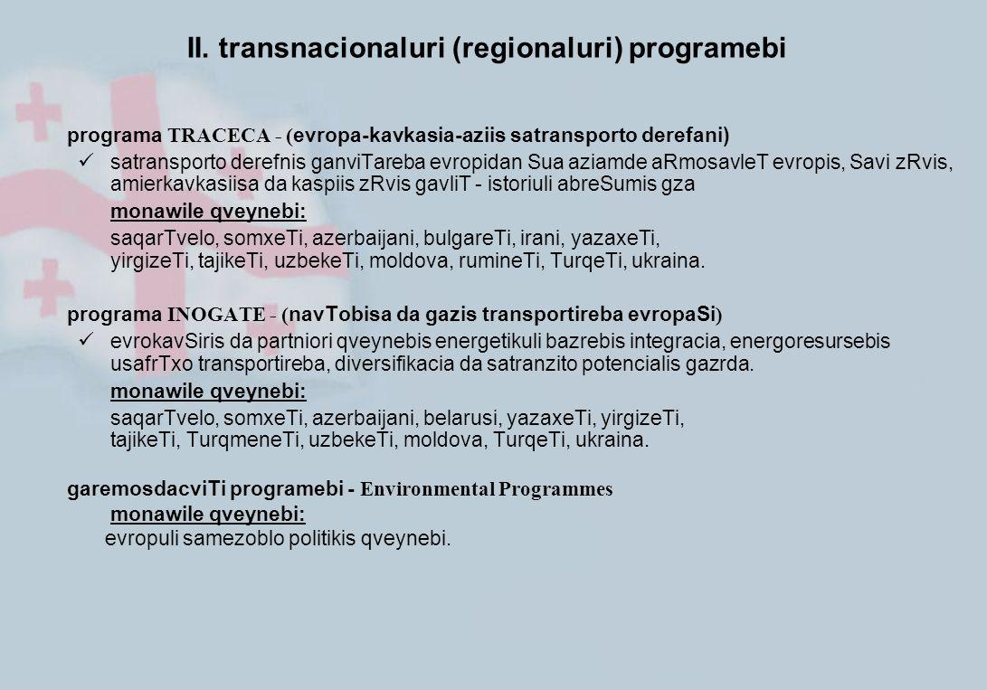 I. ENPI-s erovnuli programebi
